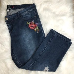 TORRID. Embroidered slightly distressed jeans.